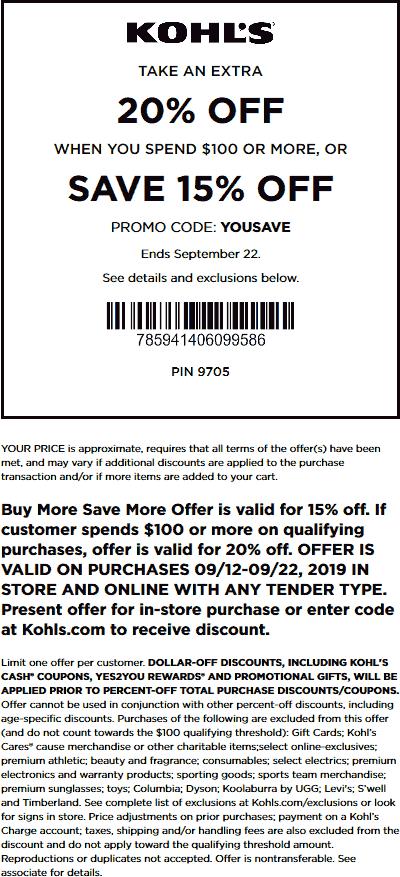 Kohls Coupon October 2019 15-20% off today at Kohls, or online via promo code YOUSAVE