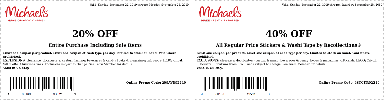Michaels Coupon October 2019 20% off everything at Michaels, or online via promo code 20SAVE92219