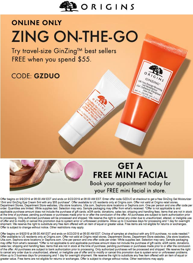 Origins Coupon January 2020 Couple travel size free with $55 online at Origins via promo code GZDUO