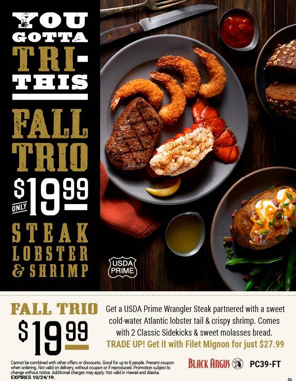 Black Angus Coupon October 2019 Steak + lobster + shrimp + 2 sides + bread = $20 at Black Angus restaurants