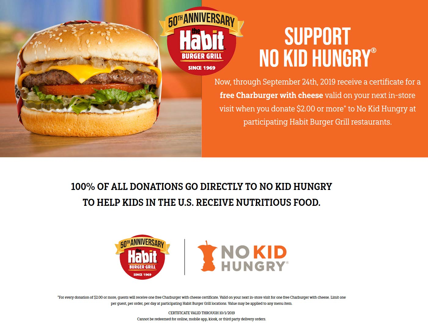 Habit Coupon November 2019 Free cheeseburger with $2 donation at Habit burger grill