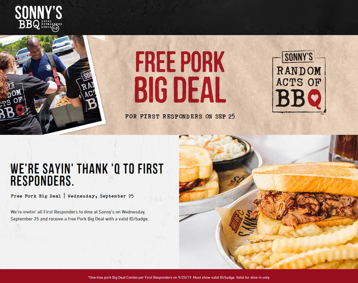 Sonnys BBQ Coupon October 2019 First responders enjoy free pork Wednesday at Sonnys BBQ restaurants