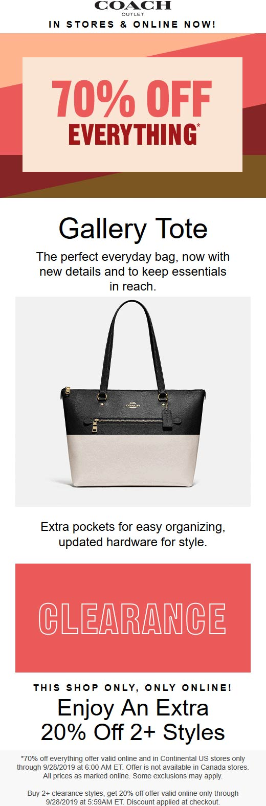 Coach Outlet Coupon January 2020 70-90% off at Coach Outlet, ditto online