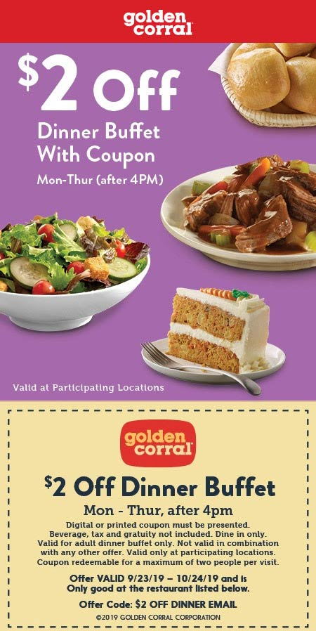 Golden Corral Coupon January 2020 $2 off dinner buffet Mon-Thur at Golden Corral