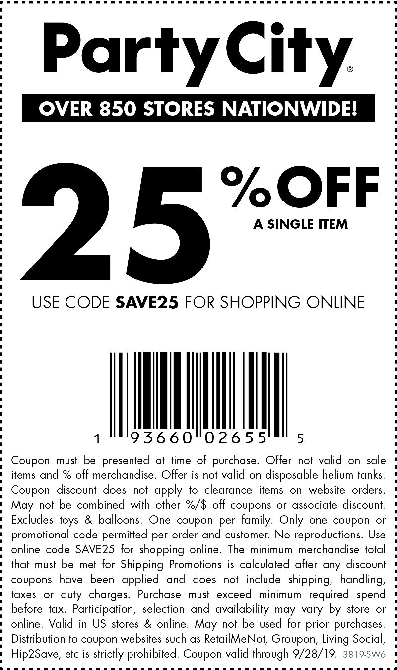 Party City Coupon November 2019 25% off a single item at Party City, or online via promo code SAVE25
