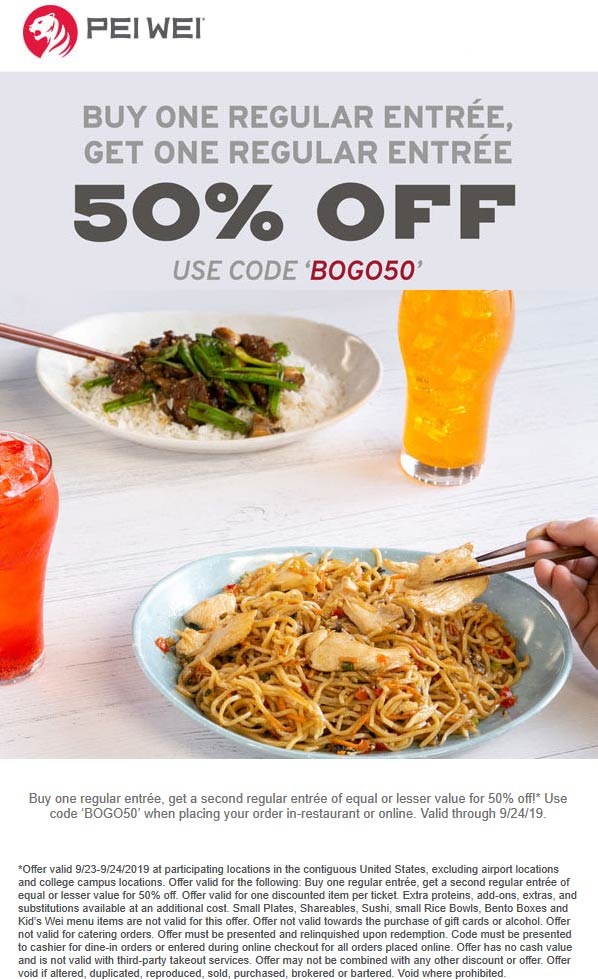Pei Wei Coupon November 2019 Second entree 50% off today at Pei Wei via promo code BOGO50