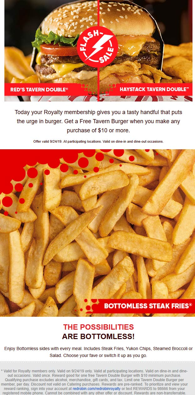 Red Robin Coupon October 2019 Free tavern cheeseburger todaywith $10 spent at Red Robin