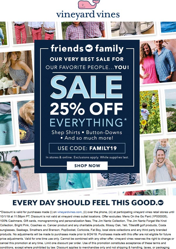 Vineyard Vines Coupon November 2019 25% off everything at Vineyard Vines, or online via promo code FAMILY19