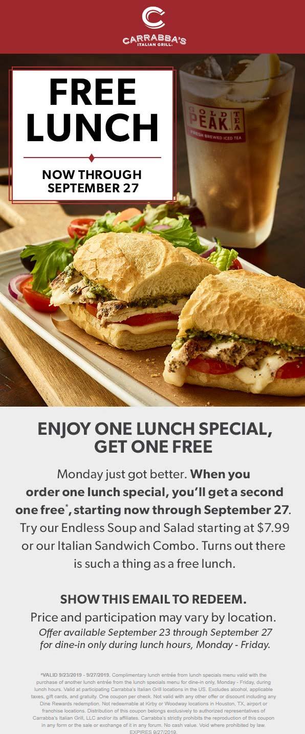 Carrabbas Coupon November 2019 Second lunch free at Carrabbas