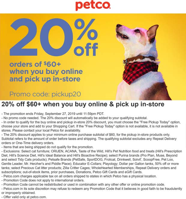 Petco Coupon November 2019 20% off $60 online pickup in-store at Petco via promo code pickup20