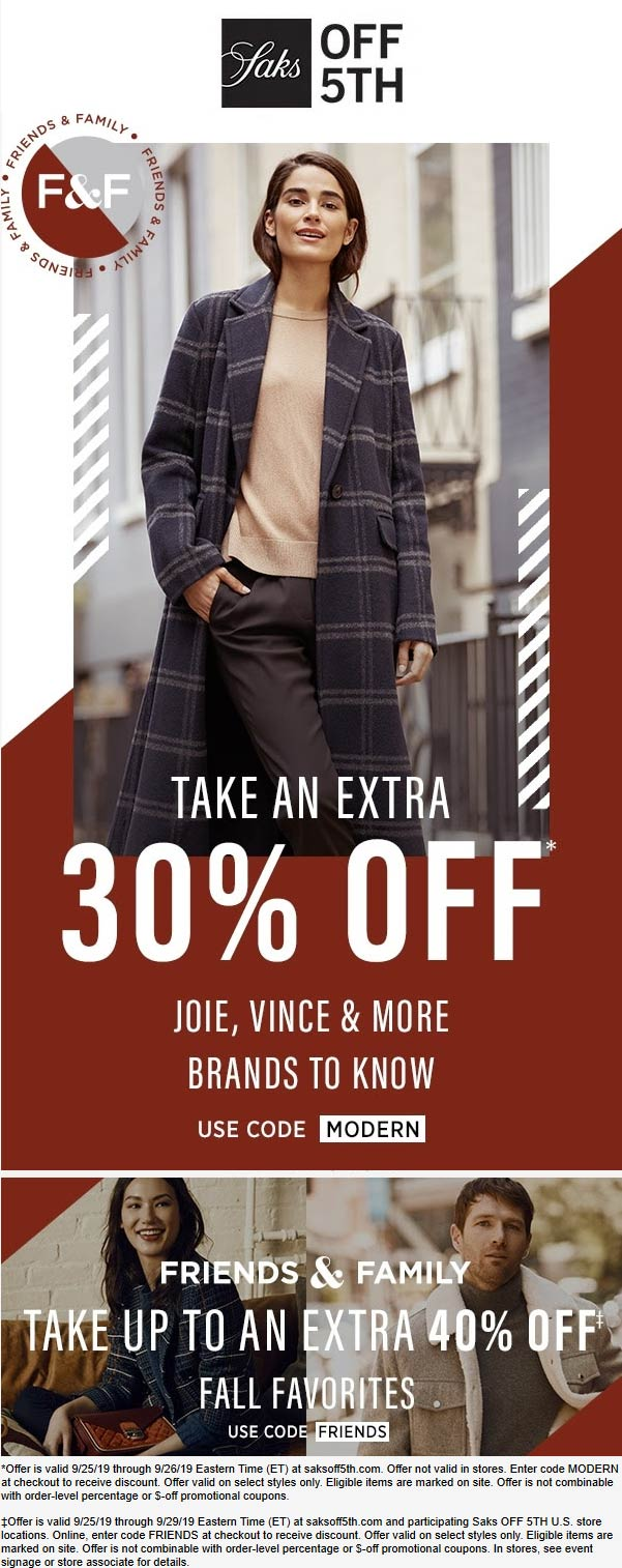 OFF 5TH Coupon January 2020 30-40% off online at Saks OFF 5TH via promo code MODERN & FRIENDS