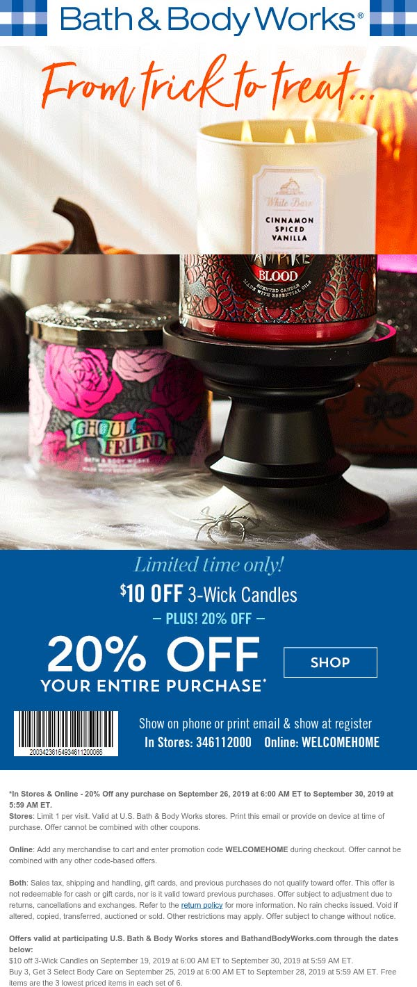 Bath & Body Works Coupon November 2019 20% off at Bath & Body Works, or online via promo code WELCOMEHOME