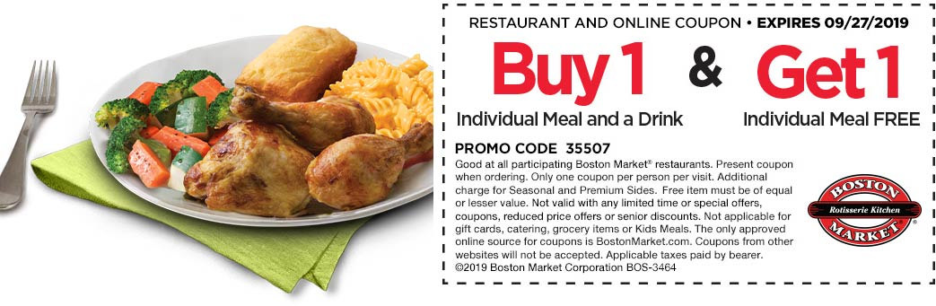 Boston Market Coupon October 2019 Second meal free at Boston Market