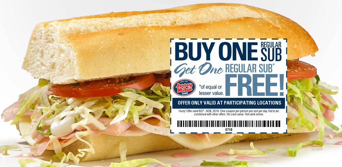 Jersey Mikes Coupon October 2019 Second sub sandwich free at Jersey Mikes