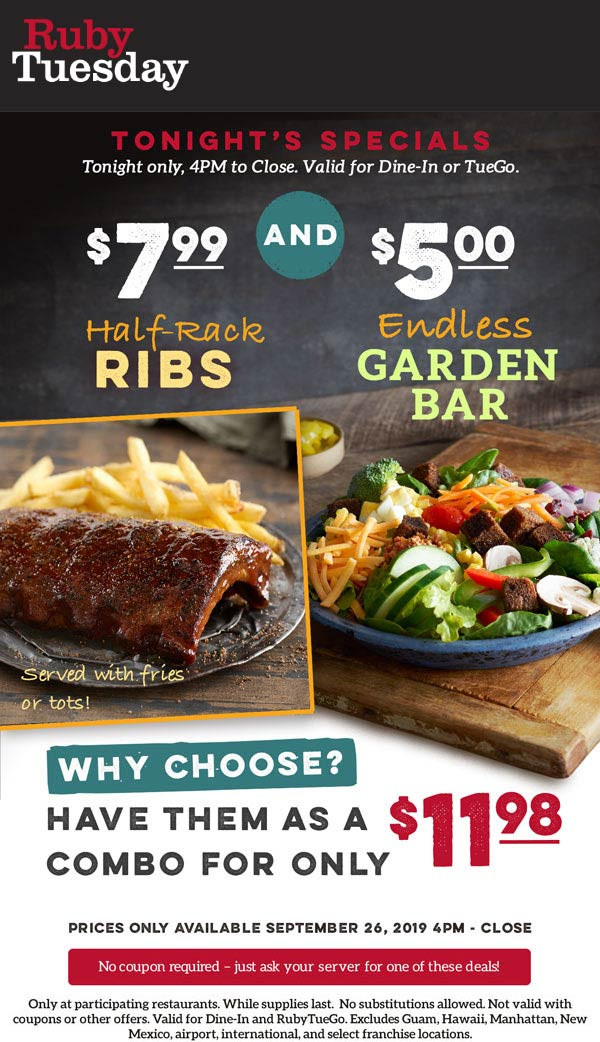 Ruby Tuesday Coupon October 2019 $5 endless garden bar tonight at Ruby Tuesday restaurants