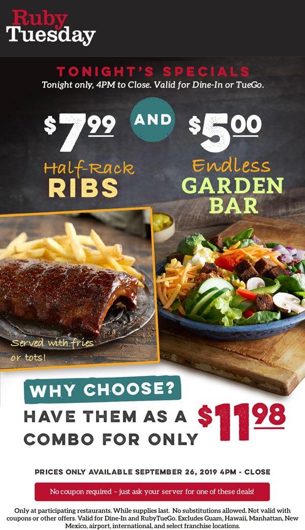 Ruby Tuesday Coupon November 2019 $5 endless garden bar tonight at Ruby Tuesday restaurants