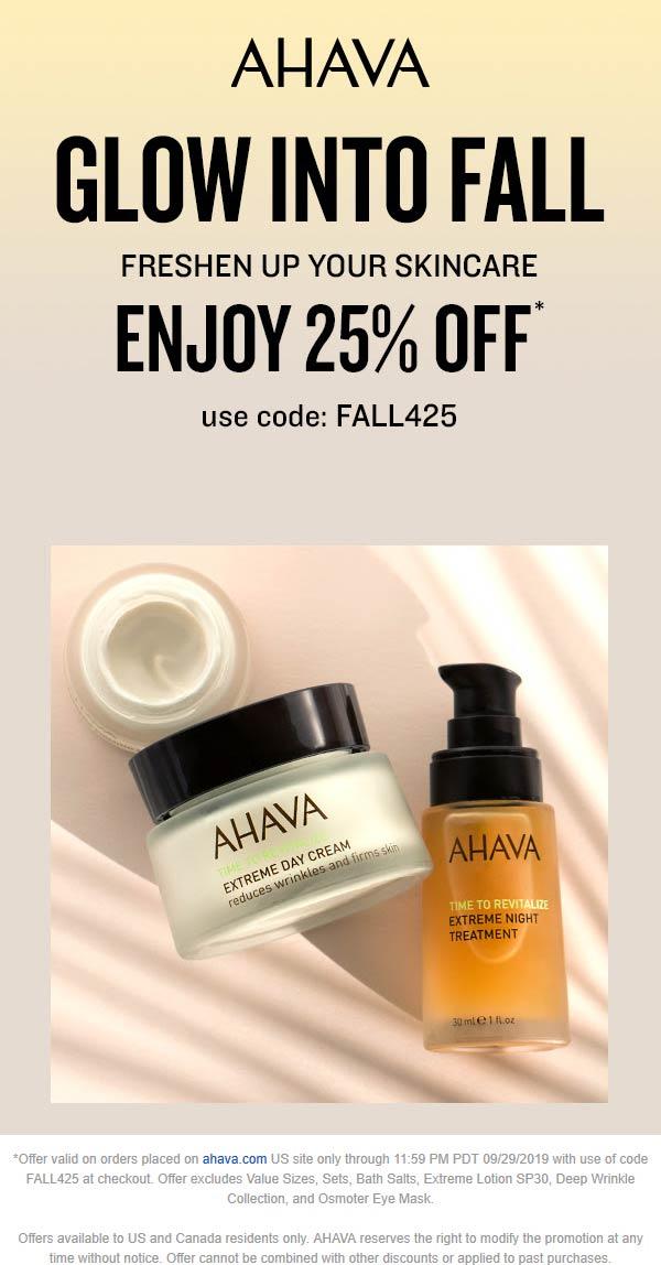 AHAVA Coupon October 2019 25% off online at AHAVA via promo code FALL425