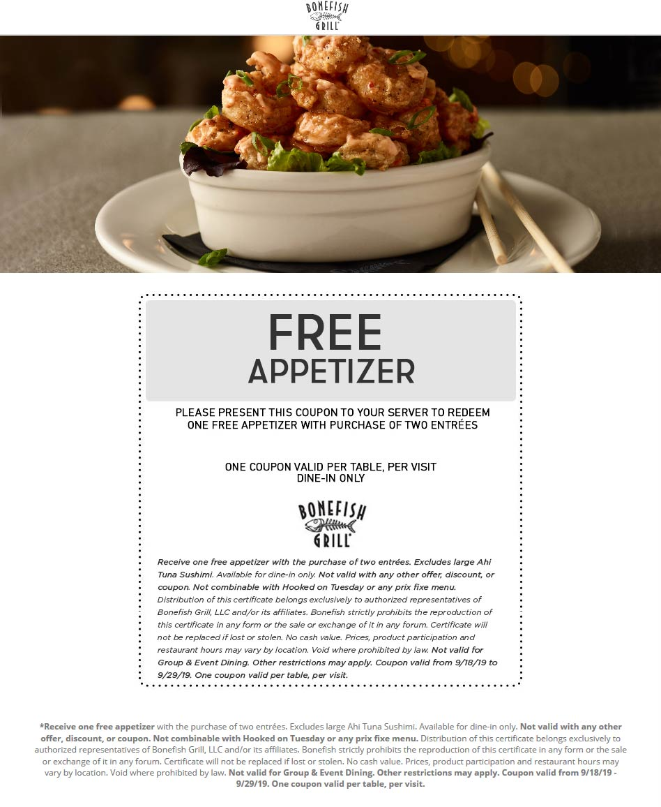 Bonefish Grill Coupon November 2019 Free appetizer with your entrees at Bonefish Grill