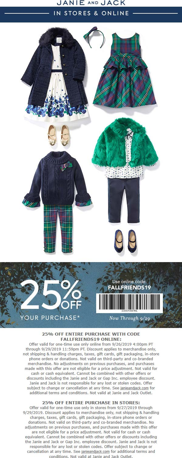 Janie and Jack Coupon January 2020 25% off at Janie and Jack, or online via promo code FALLFRIENDS19