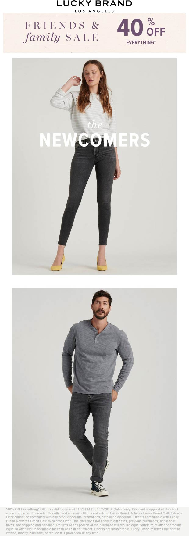 Lucky Brand Coupon November 2019 40% off everything online at Lucky Brand, no code needed