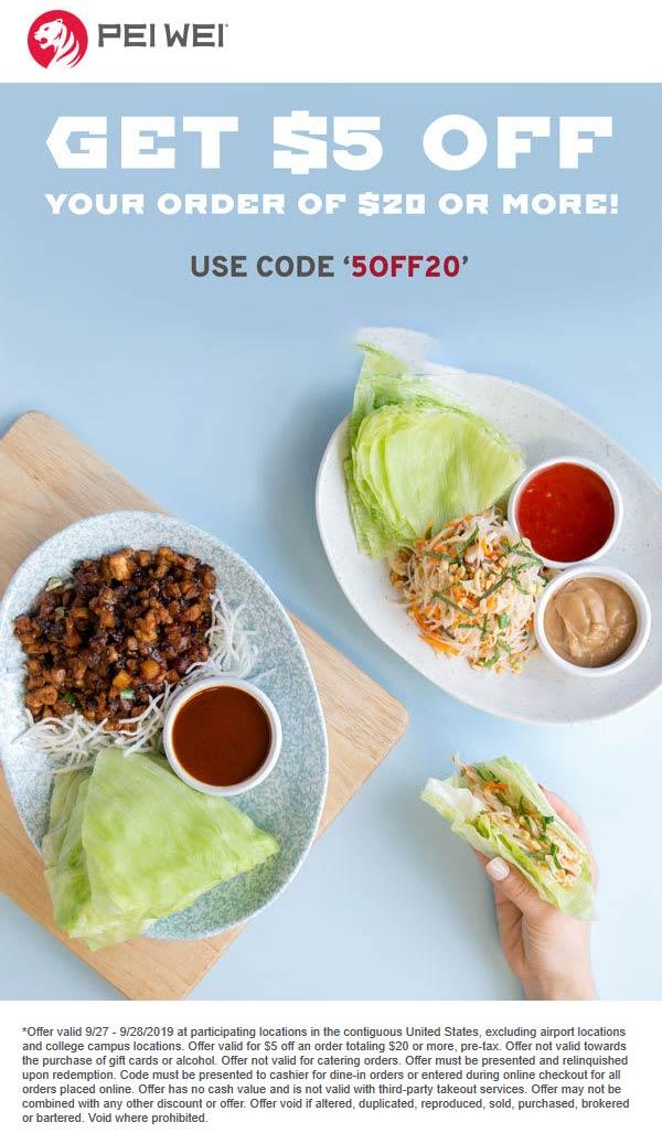 Pei Wei Coupon October 2019 $5 off $20 at Pei Wei restaurants via promo code 5OFF20
