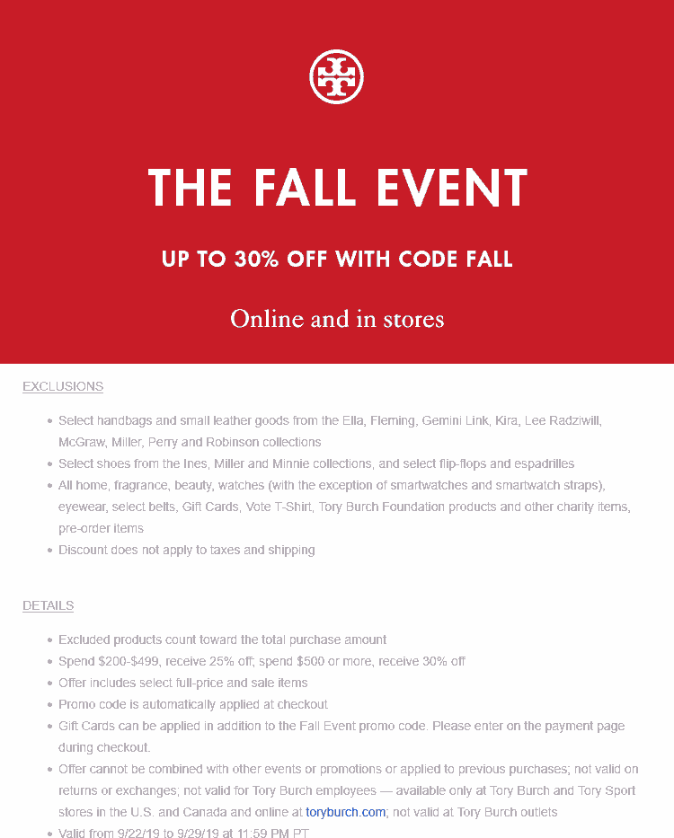 Tory Burch Coupon October 2019 25-30% off $200+ at Tory Burch, or online via promo code FALL
