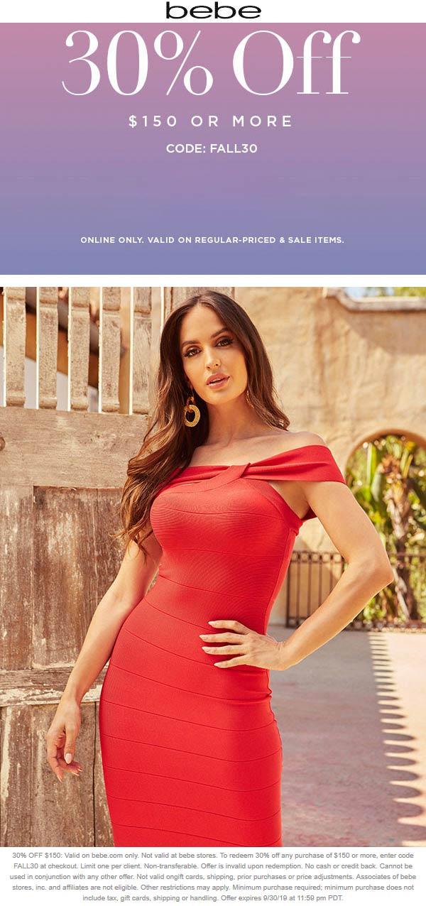 Bebe Coupon January 2020 30% off $150 online at bebe via promo code FALL30
