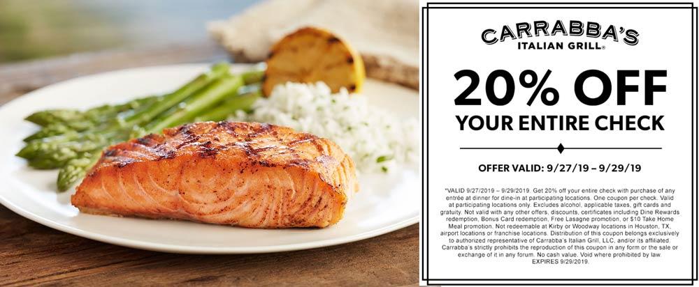 Carrabbas Coupon January 2020 20% off at Carrabbas restaurants