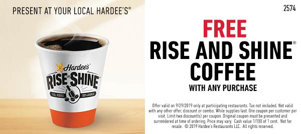 Hardees Coupon October 2019 Free coffee with any order Sunday at Hardees