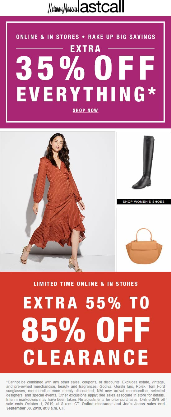 Last Call Coupon January 2020 Extra 35% off everything at Neiman Marcus Last Call, ditto online