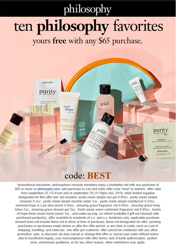 Philosophy Coupon October 2019 10pc set free with $65 spent online at Philosophy via promo code BEST