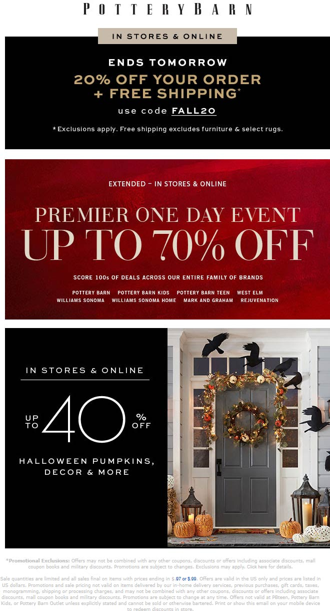 Pottery Barn Coupon October 2019 20% off at Pottery Barn, or online via promo code FALL20