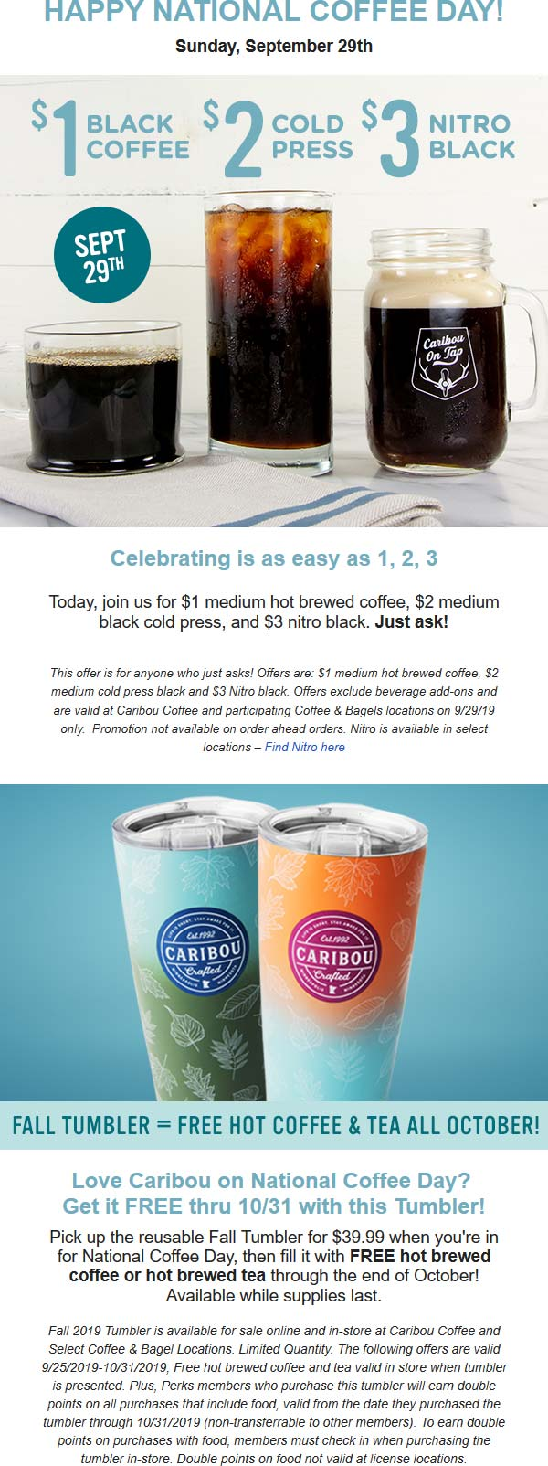 Caribou Coffee Coupon January 2020 $1 coffee today at Caribou Coffee