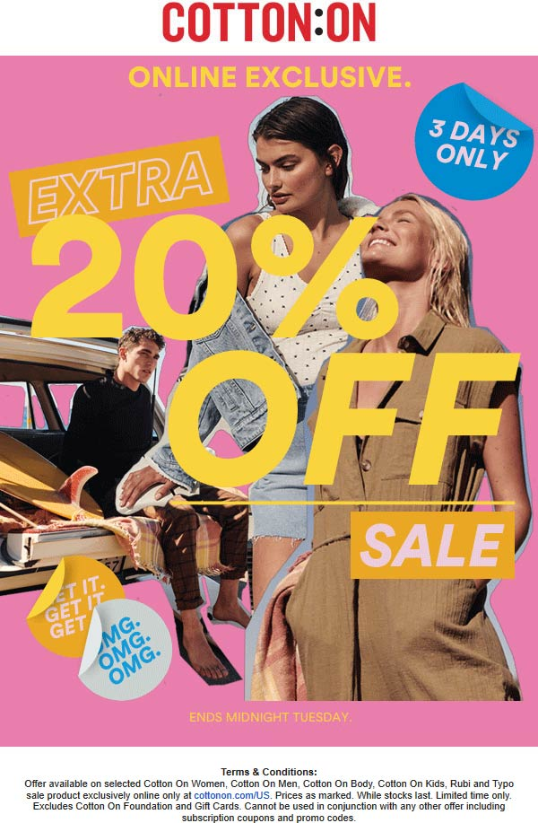 Cotton On Coupon January 2020 Extra 20% off online at Cotton On