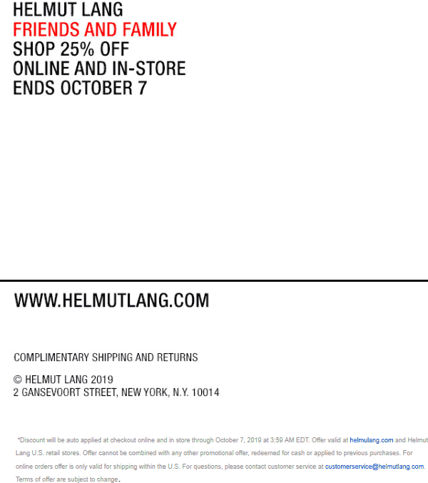 Helmut Lang Coupon November 2019 25% off at Helmut Lang, ditto online