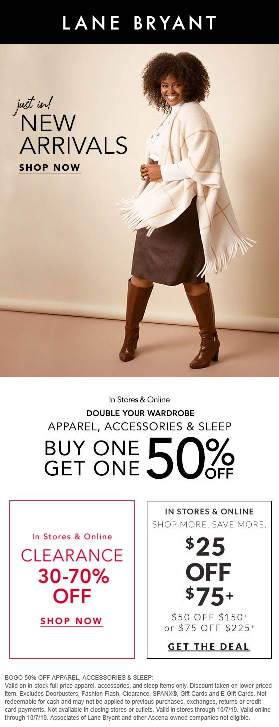 Lane Bryant Coupon November 2019 Second item 50% off at Lane Bryant, ditto online