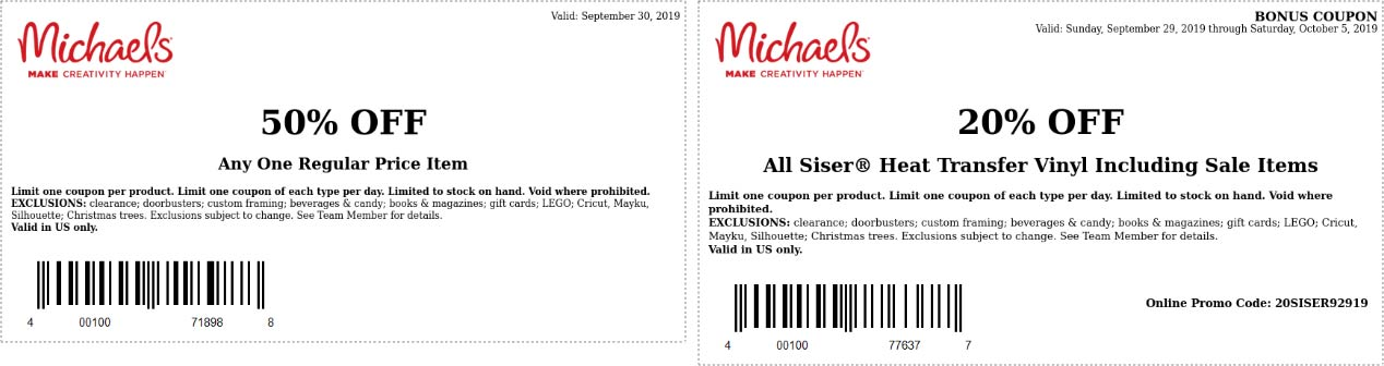 Michaels Coupon January 2020 50% off a single item today at Michaels