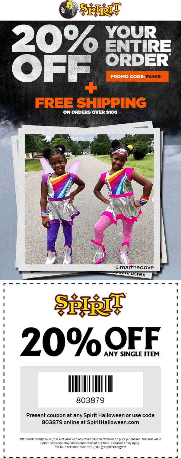 Spirit Halloween Coupon January 2020 20% off a single item today at Spirit Halloween, or everything online via promo code FAN19