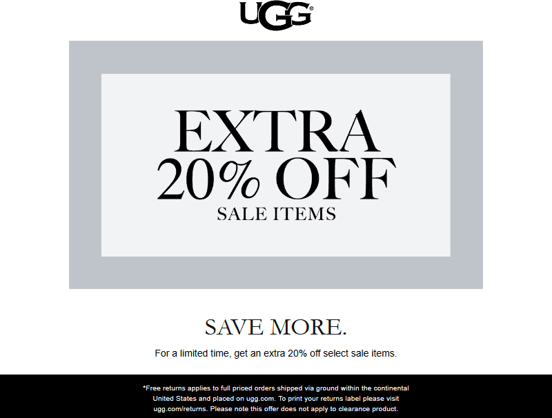 UGG Coupon October 2019 Extra 20% off sale items online at UGG
