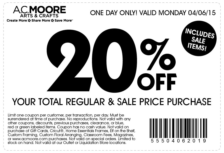 A C  Moore Coupons - 20% off the tab today at A C  Moore crafts