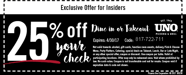 uno pizza coupon
