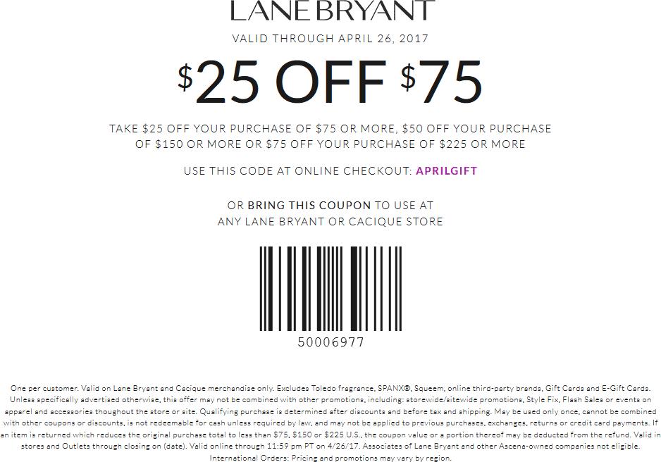 Lane Bryant $25 Off $25 Coupon