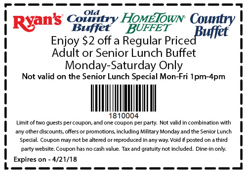 Magnificent Hometown Buffet Coupons 2 Off Lunch At Ryans Hometown Home Interior And Landscaping Ponolsignezvosmurscom