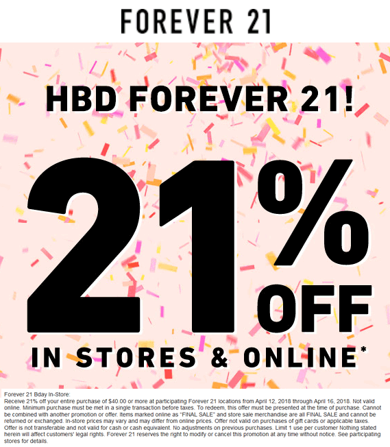 forever 21 in store coupon