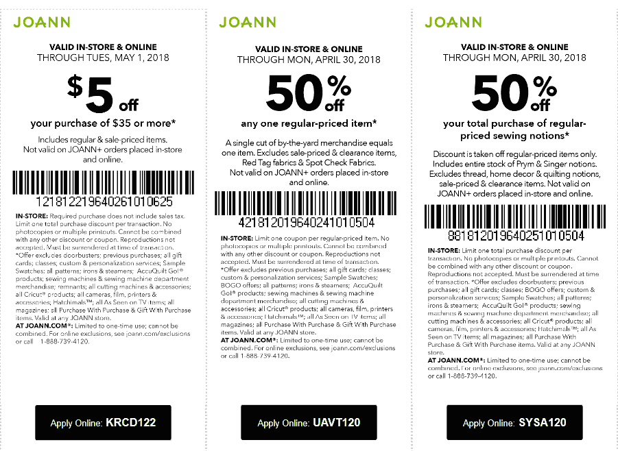 Joann Coupons - $5 off $25 & more at Joann, or online via