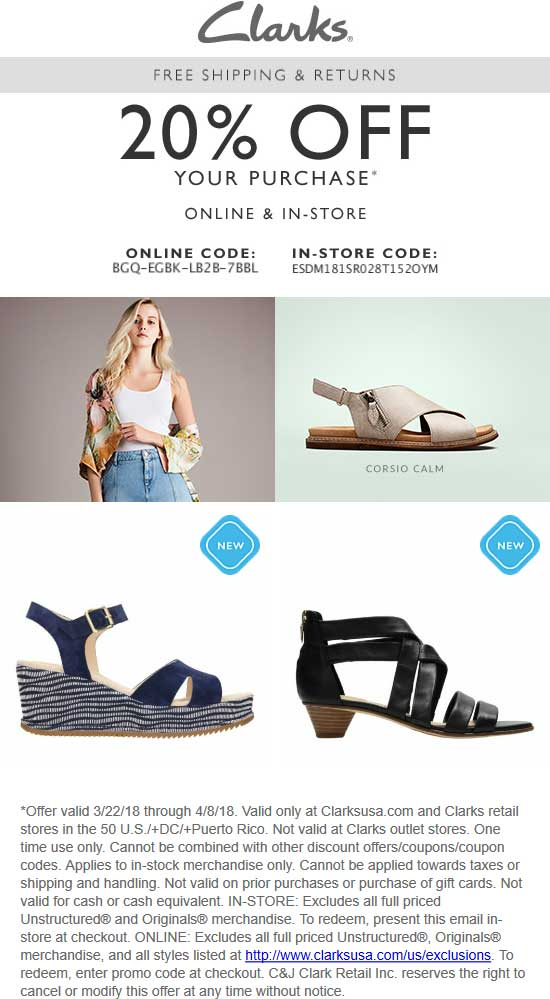 suche nach echtem bieten viel elegant im Stil Clarks coupons - 20% off today at Clarks shoes, or