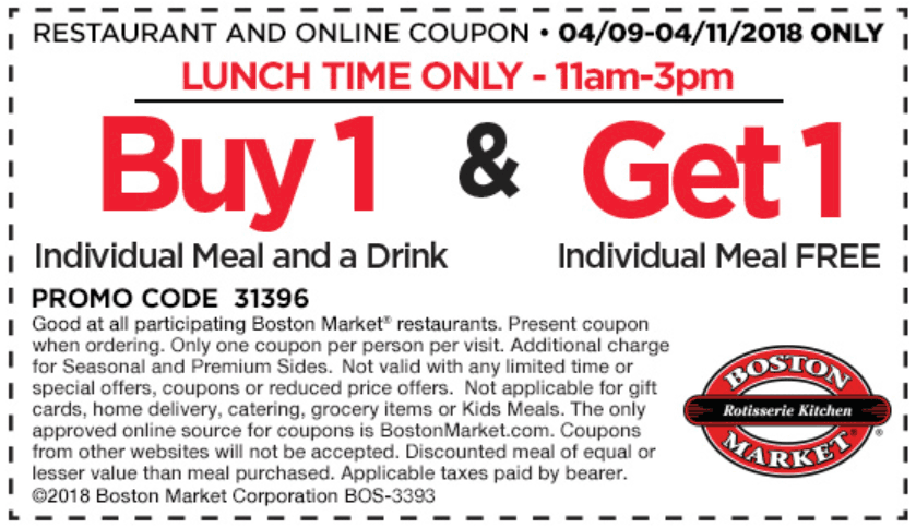 Boston Market Coupon August 2020 Second lunch meal free at Boston Market