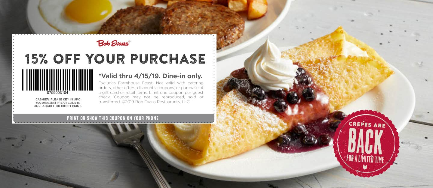 Bob Evans Coupon July 2020 15% off at Bob Evans restaurants