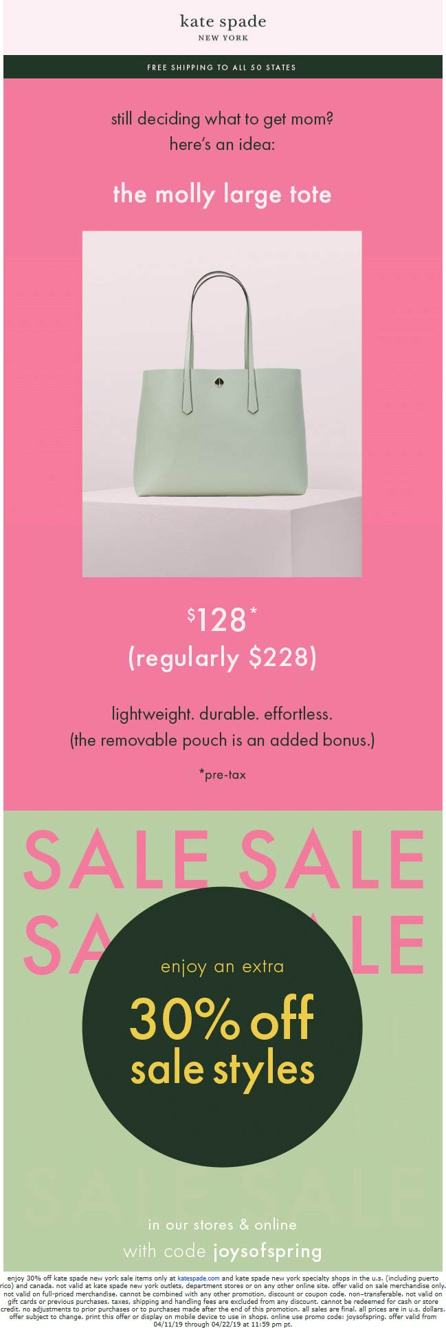 Kate Spade Coupon June 2020 Extra 30% off sale items at Kate Spade, or online via promo code joysofspring