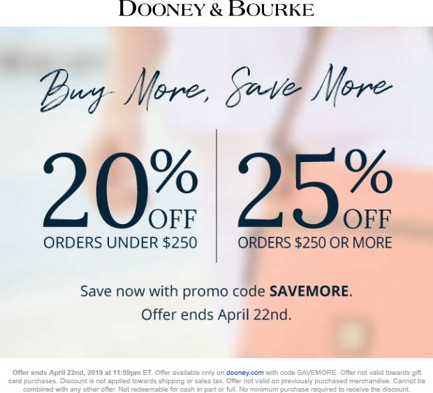 Dooney & Bourke Coupon February 2020 20-25% off online at Dooney & Bourke via promo code SAVEMORE
